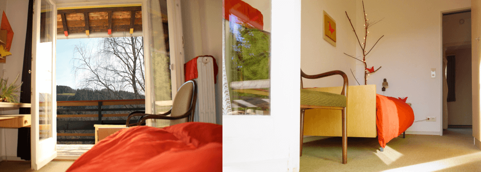 Je kamer met eigen douche, toilet en weids uitzicht staat voor je klaar.